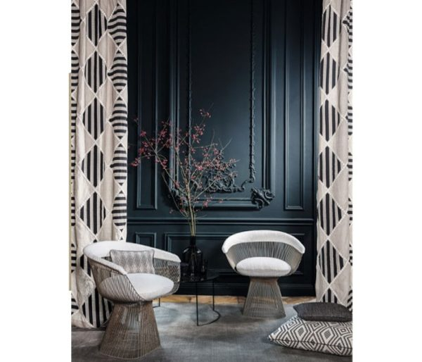 rideaux en lin brodé