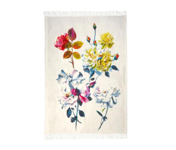Plaid en laine imprimé de roses