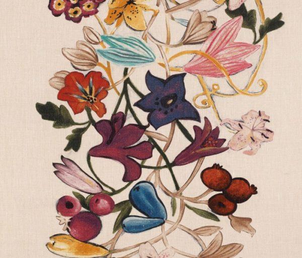 Rideaux en lin imprimé de fleurs