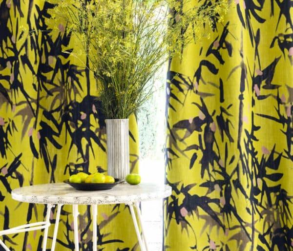 Rideaux en lin imprimé de bambous