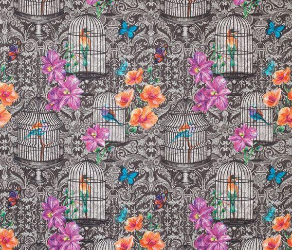 Rideaux imprimé de cages à oiseaux