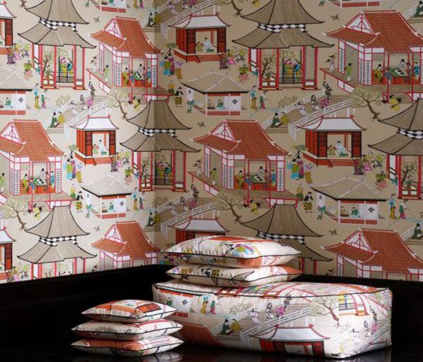 Coton imprimé de chinoiseries