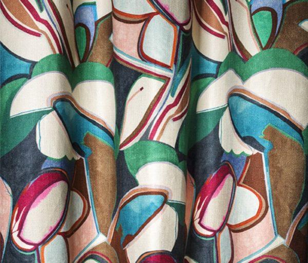 Lin imprimé de motifs contemporains