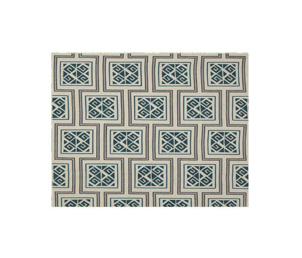 Lin brodé et imprimé de motifs géométriques