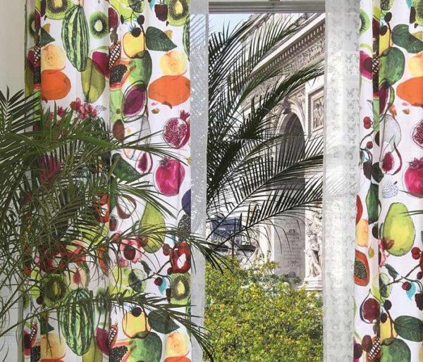 Toile coton imprimé de fruits exotiques