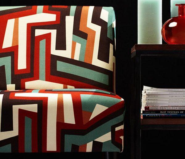Coton imprimé de larges bandes futuriste