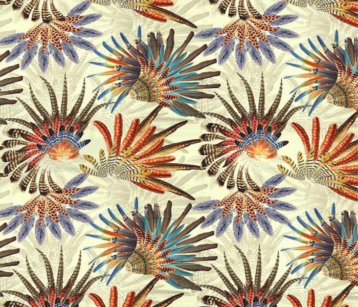 Rideaux brodés de plumes indiennes