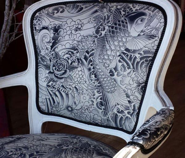 Coton imprimé de poissons chats