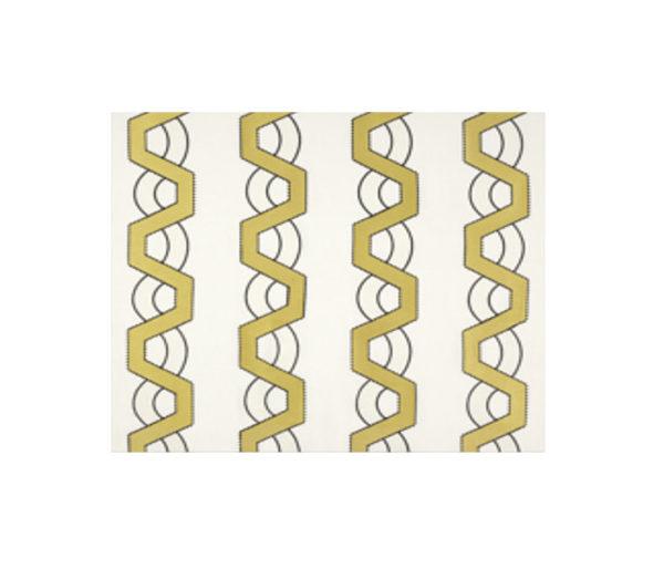 Lin brodé et imprimé de bandes géométriques