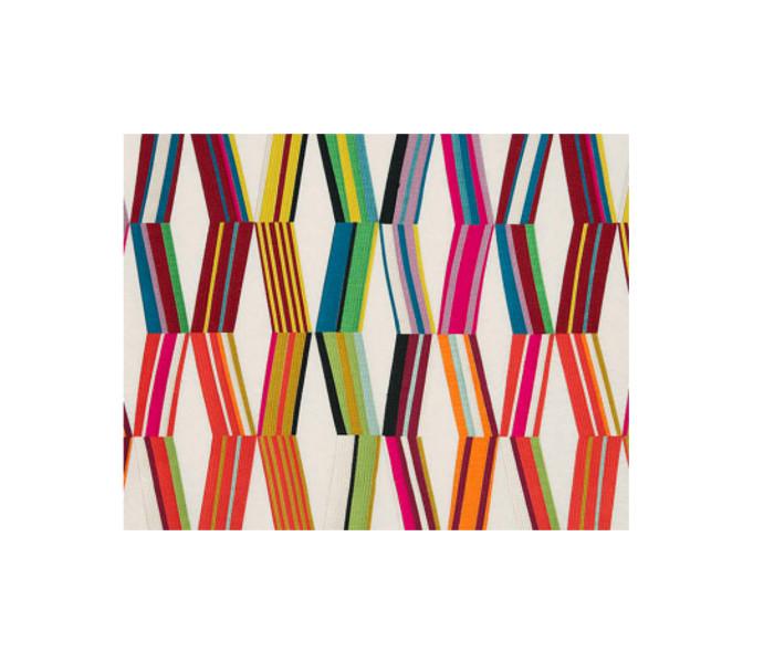Coton brodé de bandes multicolores
