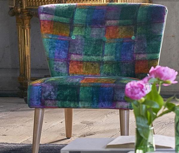 Velours imprimé de pavés de couleurs