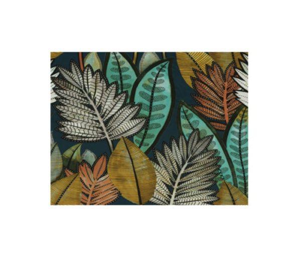 rideaux imprimés de grandes feuilles multicolores