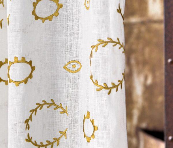 voilage lin brodé de couronnes de laurier