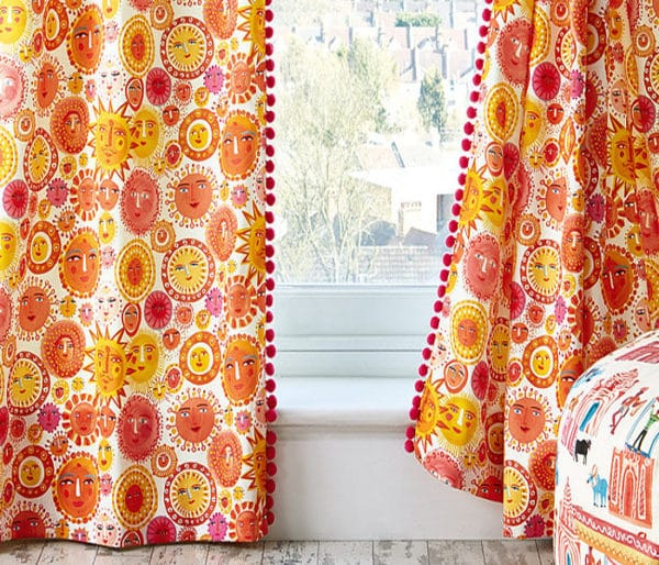 rideaux coton imprimé de soleils enfantin