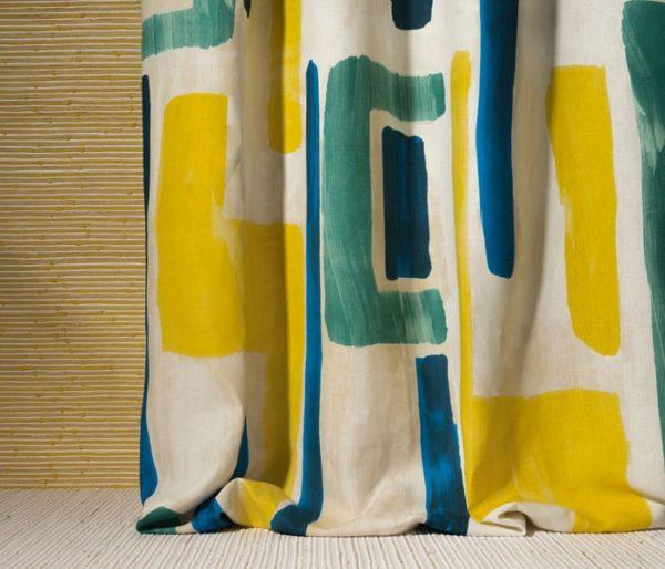 tissu pour rideaux avec larges motifs géométriques