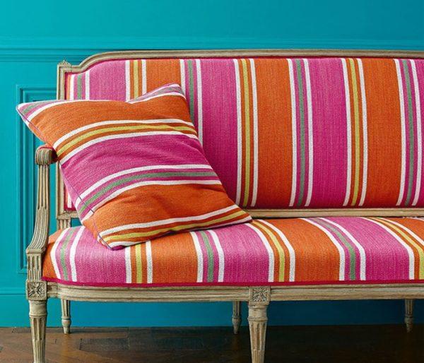 tissu larges rayures aux couleurs vives