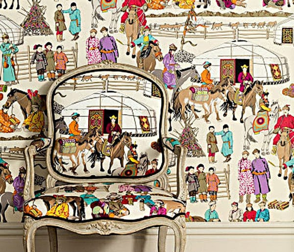 Tissu représentant une scène de vie des nomades du sézsert de Gobi