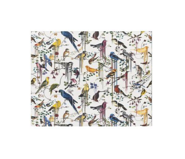 tissu d'ameublement imprimé d'oiseaux multicolores
