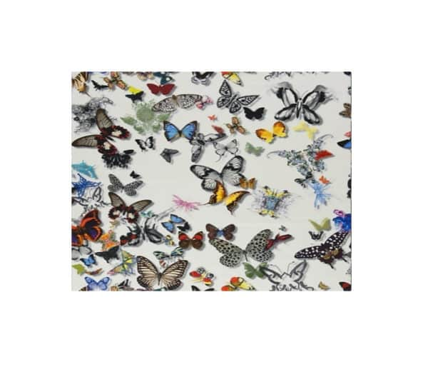 tissu d'ameublement imprimé de papillons multicolores