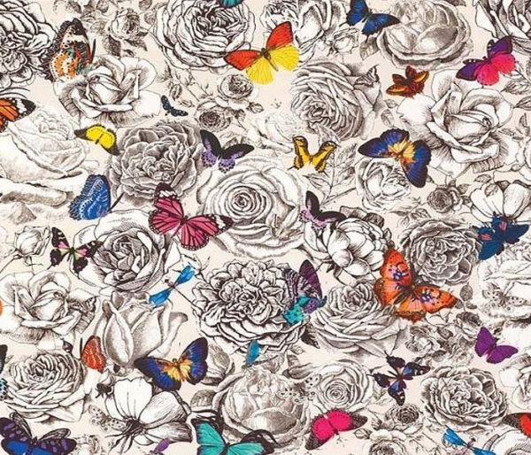 toile coton imprimée de roses et de papillons