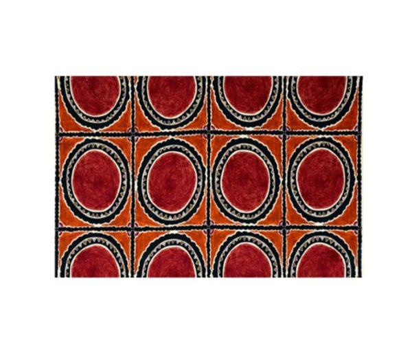 tissu lin imprimé de larges cercles ethniques