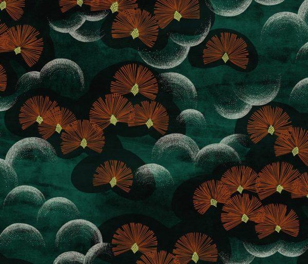 velours imprimé d'un motif floral Art Déco