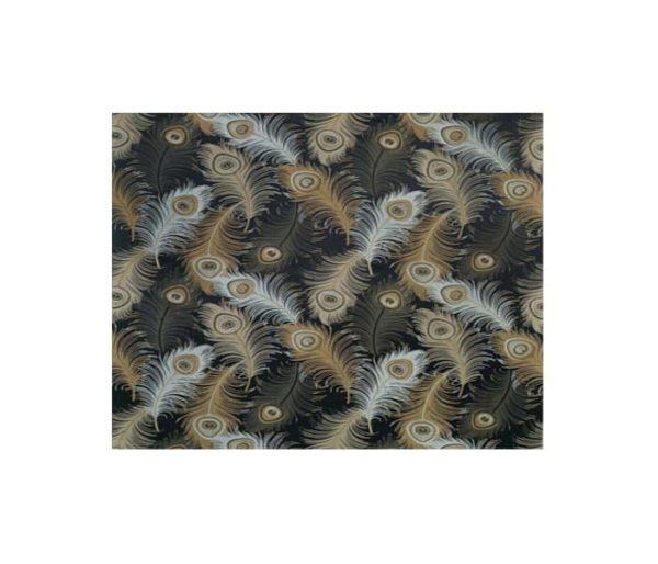 soie imprimée de plumes de paon
