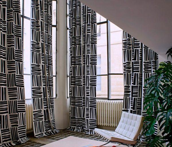 tissu en lin imprimé d'un motif abstarait