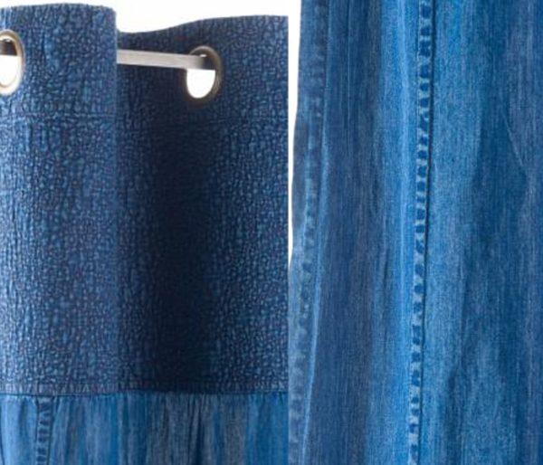 rideau à oeillets prêt à poser coloris Denim