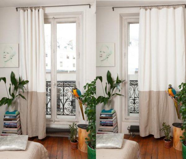 Rideau duo avec 180 cm de velours et 100 cm de lin