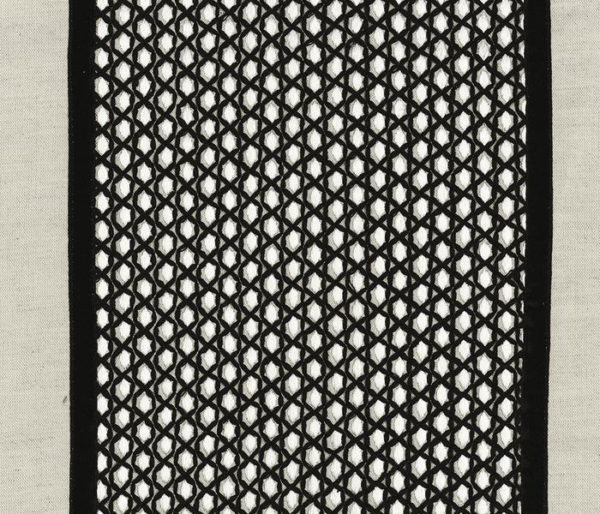 rideaux de lin brodé d'une bande façon nid d'abeille