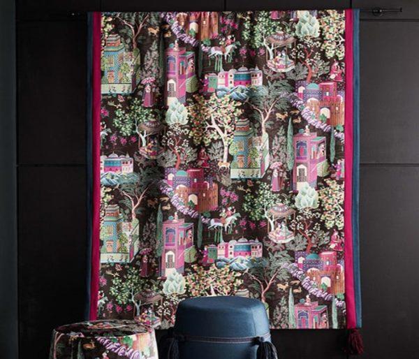 Toile de coton imprimé de scènes colorées du Moyen-Orient