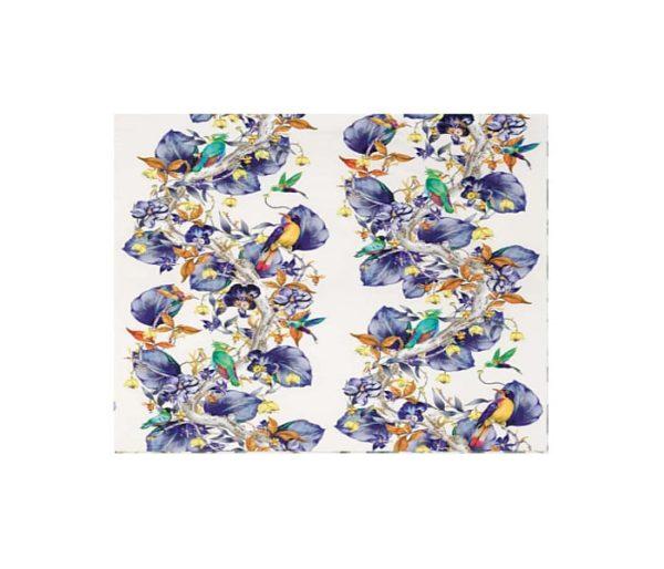 Toile de coton imprimé d'oiseaux et de feuilles