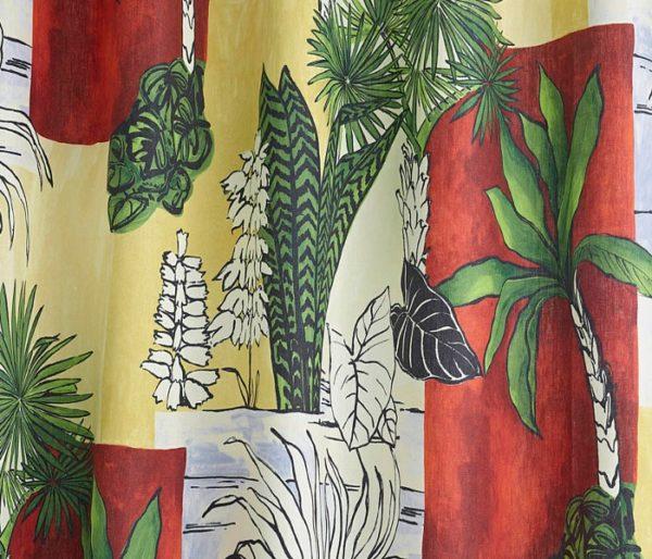 tissu imprimé d'un motif végétal exotique